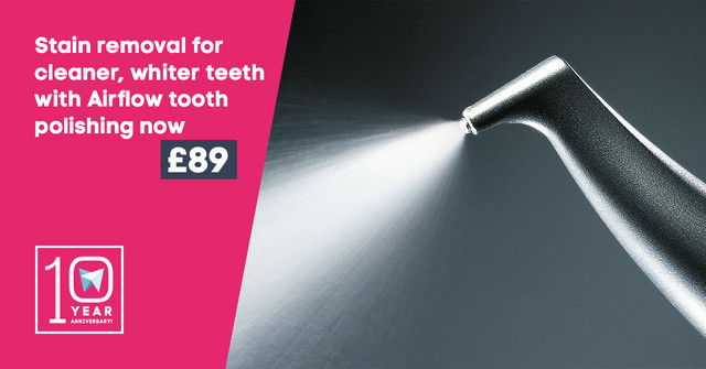 Stain removal for cleaner, whiter teeth with Airflow tooth polishing now £89!