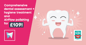 Comprehensive dental assessment + hygiene treatment and AirFlow stain removal for just £109!