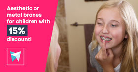 Aesthetic or metal braces for children with 15% discount!