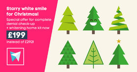 Starry white smile for Christmas! Complete dental check-up + whitening home kit now £199 instead of £292!