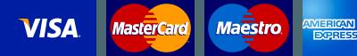 Accettiamo tutte le principali carte di credito e di debito.